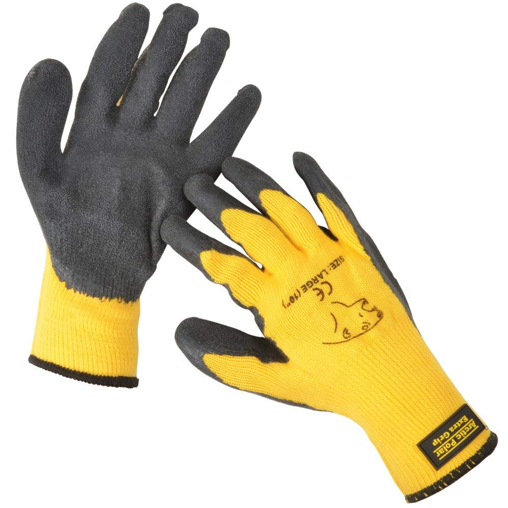 ARTIC POLAR EXTRA WARM EXTRA GRIP WINTER WORKING GLOVE SIZE LARGE (10) YELLOW